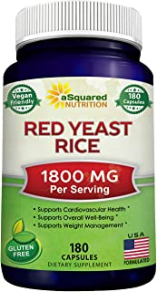 Sponsored Ad - Red Yeast Rice 1800mg - Dietary Supplement Vegan Powder Pills to Support Cardiovascular Health - 180 Veggie...