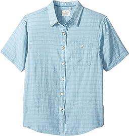 Indigo Surf Plaid One-Pocket Short Sleeve Shirt Double Light Combed Cotton