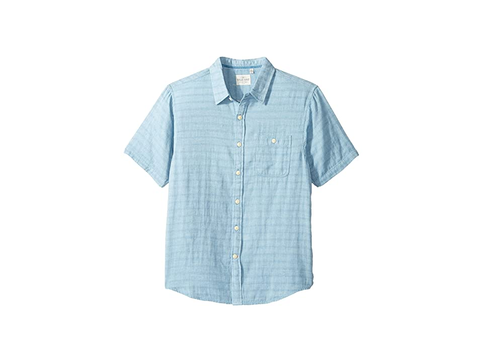 True Grit Indigo Surf Plaid One-Pocket Short Sleeve Shirt Double Light Combed Cotton (Light Chambray) Men