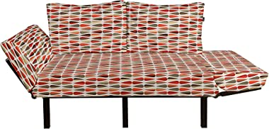 Ambesonne Retro Futon Couch, Sixties and Seventies Style Geometric Round Shaped Repeated Symmetric Design, Daybed with Metal