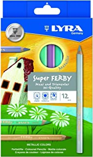 LYRA Super Ferby Giant Triangular Colored Pencil, Lacquered, 6.25mm Lead Core, Set of 12 Pencils, Assorted Metallic Colors (3721122)
