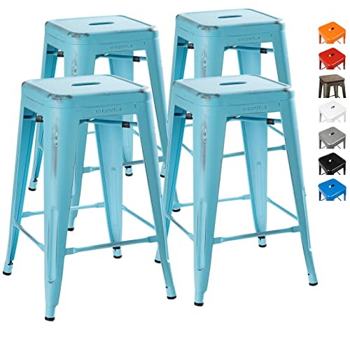 UrbanMod 24 Inch Bar Stools for Kitchen Counter Height, Indoor Outdoor Metal, Set of 4, Powder Blue Distressed