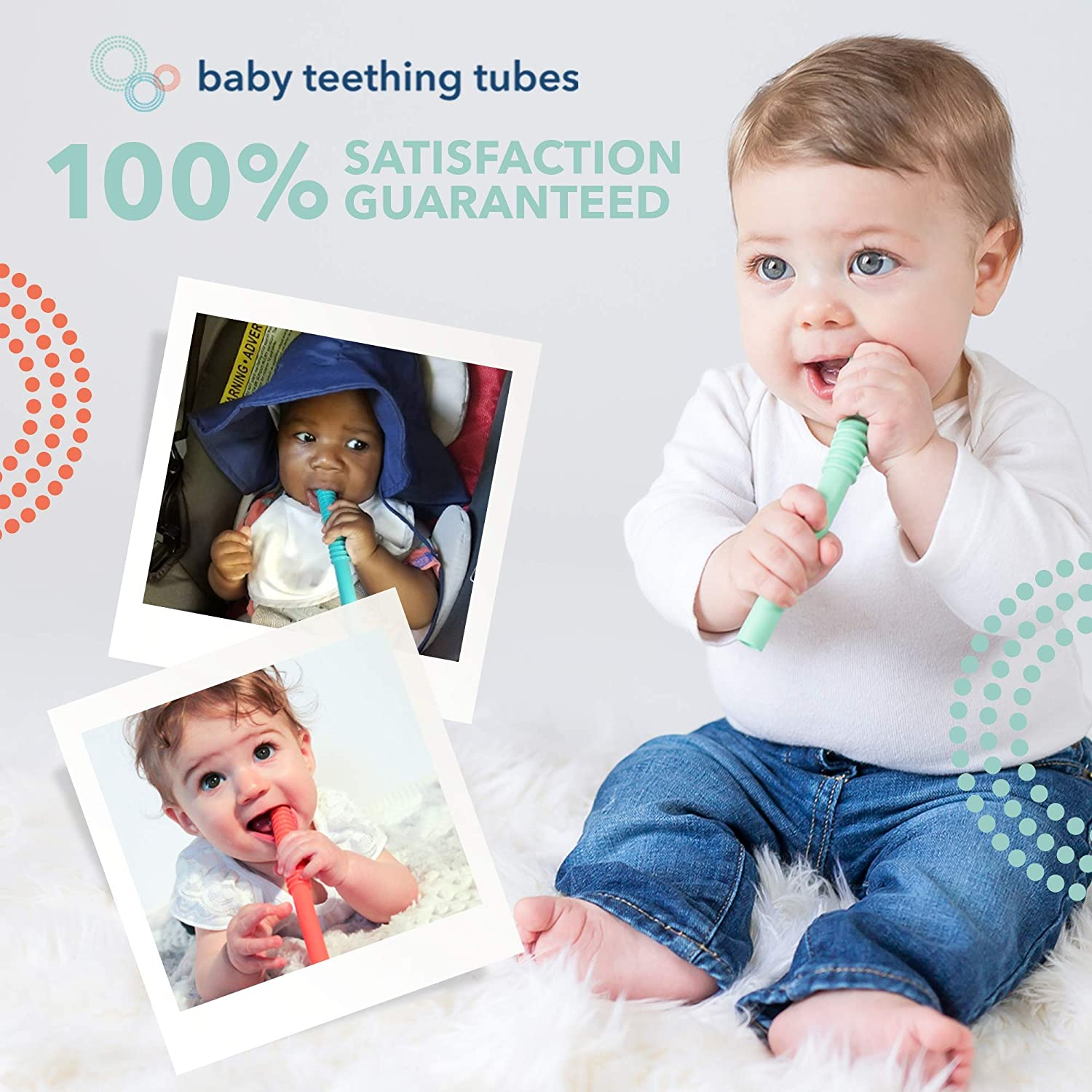 7 inches long Made in the USA Durable Easy to Clean Baby Teething Tubes: Soft Silicone Teething Baby Toy for Babies 0+ Months Safe Silicone Helps Soothe Teething Irritation Hypoallergenic