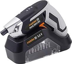 Meister MAS36VLMU 5450080 - Atornillador inalámbrico (3,6 V, 2,0 Ah, 12 accesorios, con base de carga, luz de trabajo LED, ideal para atornillar a mano, taladro atornillador con puntas)