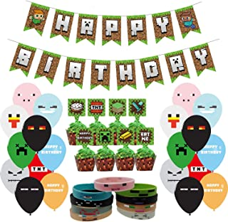 87 Pcs Pixel Style Gamer Party Supplies, Miner Theme Birthday Party Favors and Decors Set Includes 1 Banner, 20 Balloons, 24 Cupcake Toppers and 24 Wrappers, 18 Bracelets.
