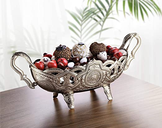 Amazon Com Luxury Decorative Table Centerpiece Bowl For Kitchen Living Room Gold Silver Fruit Bowl Basket Centerpiece For Dining Room Table Candy Serving Bowl For Buffet Wedding Centerpieces Decor Silver Kitchen Dining