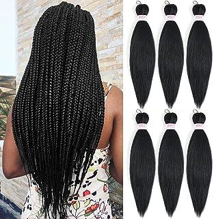 موی کشیده شده پیش کشیده شده Ez Braid Hair 20 اینچ 6 بسته جعبه بافته شده سنگ سنگی Twist Expression Braiding حرفه ای مصنوعی الیاف مصنوعی قلاب بافی قلاب بافی (1B)