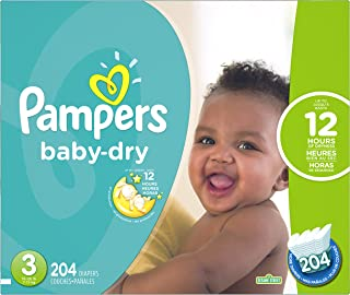Pampers Baby-Dry Disposable Diapers Size 3, 204 Count, ECONOMY PACK PLUS (Packaging May Vary)