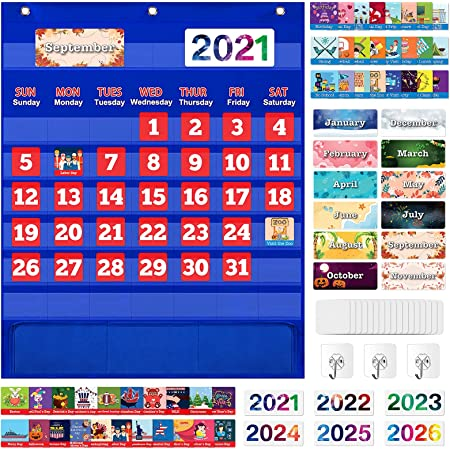 Monthly Calendar Pocket Chart with 114 Cards for Kids Learning, Kids Calendar for Kindergarten Preschool Home Classroom School Supplies Suitable for Ages 3+ Boys Girls Homeschooling - Blue