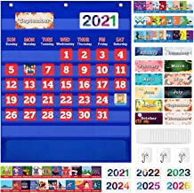 Monthly Calendar Pocket Chart with 114 Cards for Kids Learning, Kids Calendar for Kindergarten Preschool Home Classroom Sc...