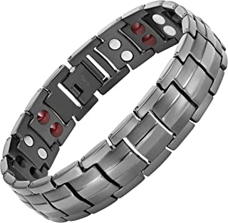 Double Strength 4 Element Titanium Magnetic Therapy Bracelet for Arthritis Pain Relief Gunmetal Colour Adjustable