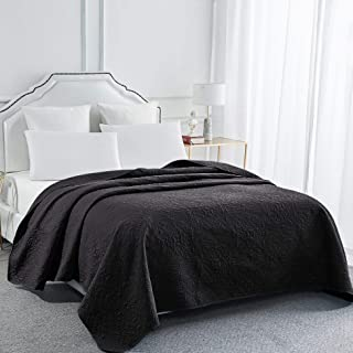 Sophia and William Bed Quilt Bedspread Coverlet - Reversible, Lightweight - King Size, Black