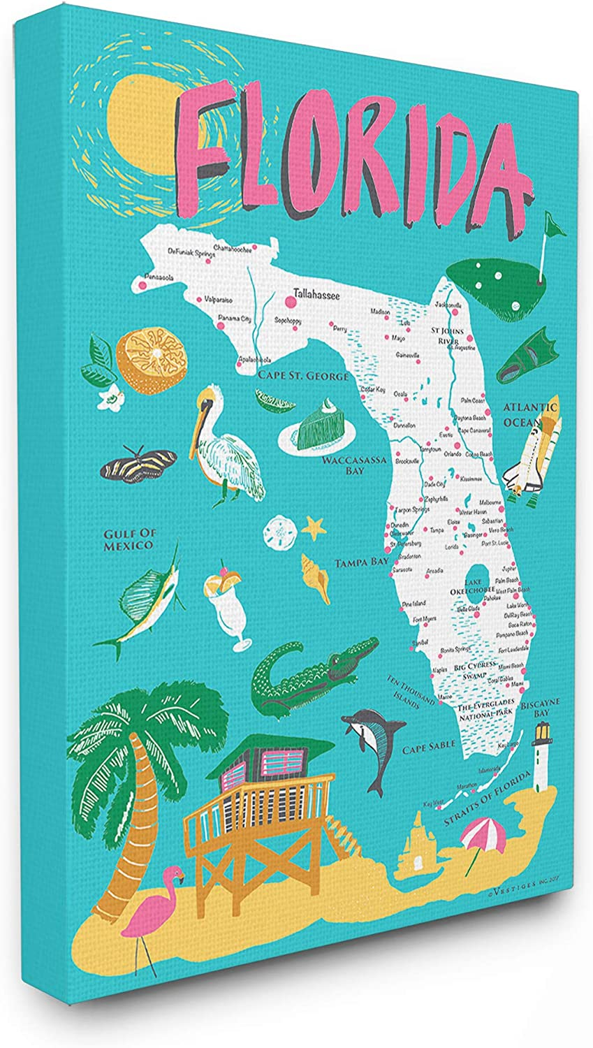 Stupell half Industries Florida Teal Blue Super beauty product restock quality top Scenic and Illustrated Pink