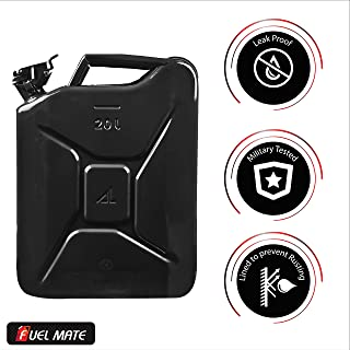 Fuel Mate 20 Liter Black Metal Jerry Can, 14 Inch X 6 Inch X 18 Inch