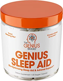 Genius Sleep AID – Smart Sleeping Pills & Adrenal Fatigue Supplement, Natural Stress, Anxiety & Insomnia Relief - Relaxati...