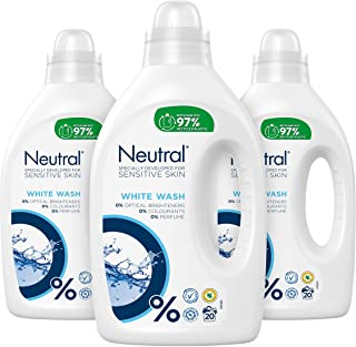 Neutral Wasmiddel Wit voor de Witte was, Parfumvrij - 60 wasbeurten - 3 x 1L