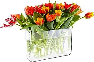 Decorative Clear Glass Block Vase, Rectangular Plant Terrarium - 7 x 11 Inch