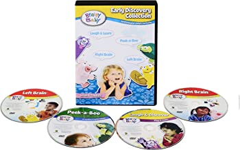 Brainy Baby Laugh and Discover, Right Brain, Left Brain, Peek a Boo Early Discovery Collection Deluxe Edition Set of 4