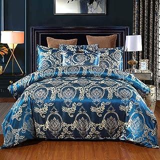 HUTUDA Parure de lit en satin jacquard style palais rétro européen avec housse de couette et taie d'oreiller en microfibr...