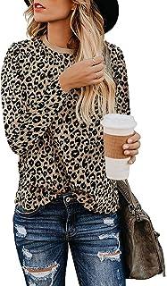 Adibosy Women Fashion Leopard Print Long Sleeve Shirts Round Neck Basic Comfy Tops Blouse Tunics