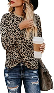 Women Leopard Print Shirts Basic Tunics Round Neck Comfy Tops Long Sleeve Fashion Blouse