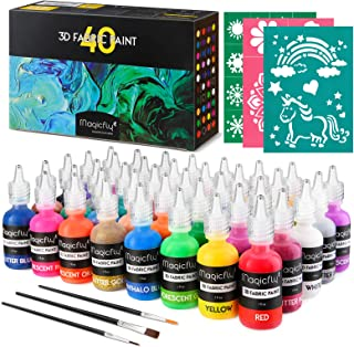 Magicfly Peinture Textile Tissu 3D Permanente 40 Couleurs 30ML Fluorescente Phosphorescente Non Toxique pour Enfant, Brill...