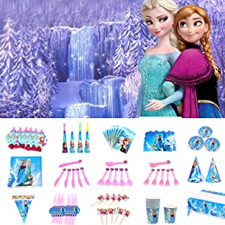 Nidezon Frozen Elsa Birthday Party Supplies Pack, Princess Birthday Party Decorations 160 Pieces For 10 Guests With Plates...