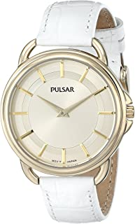 Pulsar Women's PM2136 Watch with White Leather Band