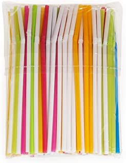 Corrugated Plastic Straws - Thin Flexible Straws 100 pcs - Colored Plastic Drinking Straws - Bendable Straws for Parties - BPA-Free Disposable Straws