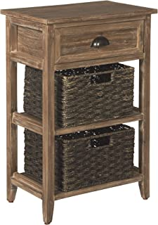 Ashley Furniture Signature Design - Oslember Storage Accent Table - Includes 2 Brown Removable Baskets - Antique Brown Finish