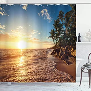 Ambesonne Tropical Shower Curtain, Palm Trees on Tropical Beach Sunrise Morning View Panoramic Nature Picture, Cloth Fabric Bathroom Decor Set with Hooks, 70