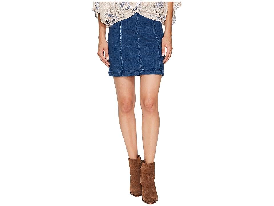 Free People Denim Modern Femme Skirt (Dark Denim) Women