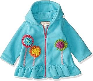 American Widgeon Baby Girls' Hooded Flower Applique Fleece Coat, Turquoise-TUR