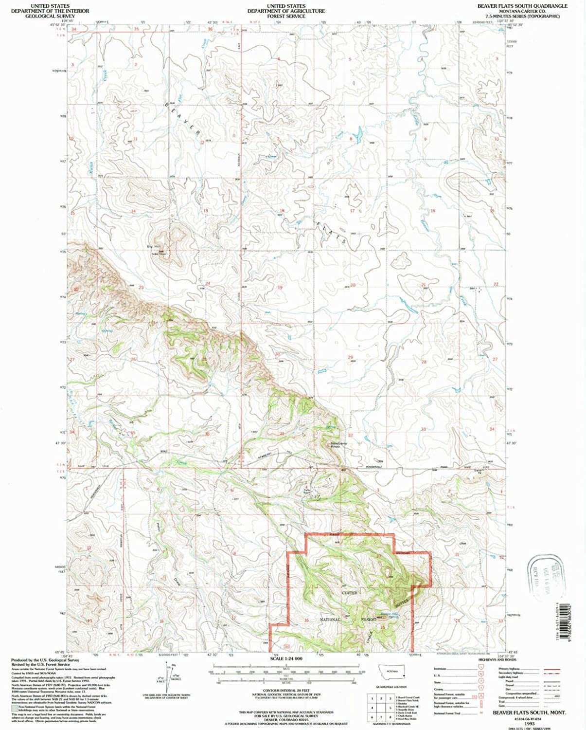 Beaver Flats South MT topo map, 1 24000 Scale, 7.5 X 7.5 Minute, Historical, 1993, Updated 1996, 26.8 x 22 in