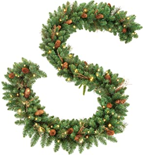 OasisCraft 9FT Christmas Garland Decorations with 20 Pine Cones, Branches and 50 Battery Operated Warm Lights and Timer