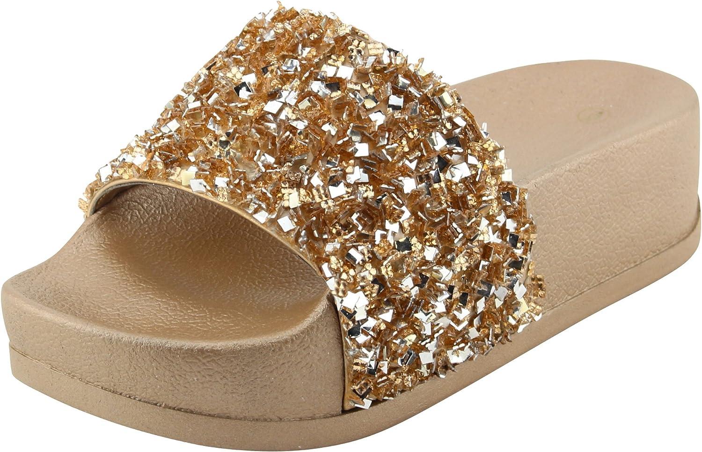 Cambridge Select Women's Open Toe Glitter Bead Sequin Slip-On Flatform Slide Sandal