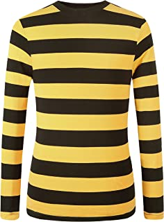 Men's Cotton Crew Neck Casual Long Sleeves Stripe T-Shirt
