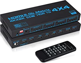 avedio links 4K@60Hz HDMI Matrix Switch 4x4 with EDID, 4 in 4 Out HDMI Switcher Splitter Audio Video Distributor Selector ...