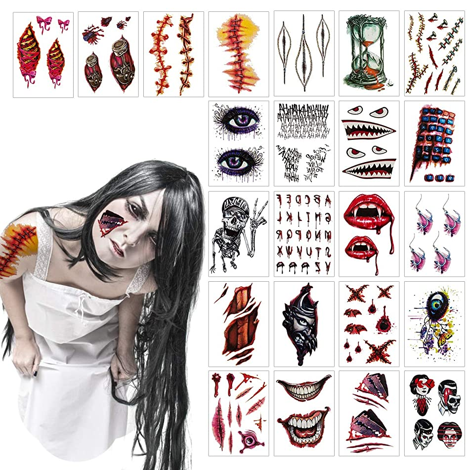 Madholly 23 Sheets Horrible Temporary Tattoos, Bleeding Wound Scar Horror Body Face Arm Tattoo Stickers