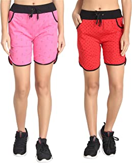 DIAZ® Pure Cotton Printed Shorts for Women/Girls Pack of 2