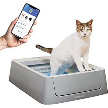 PetSafe ScoopFree Smart Automatic Self Cleaning Cat Litter Box - Smart Phone App Connected - Covered or Uncovered - Includes Disposable Tray with Premium Blue Crystal Litter