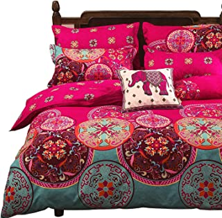 Vaulia Lightweight Microfiber Duvet Cover Set, Bohemia Exotic Patterns Design, Bright Pink - Twin Size