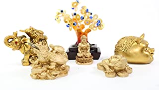 We pay your sales tax Set of 6~Feng shui Gold Buddha Money Frog Blue Evil Eye Tree Elephant Piggy Dragon Turtle Home Decor