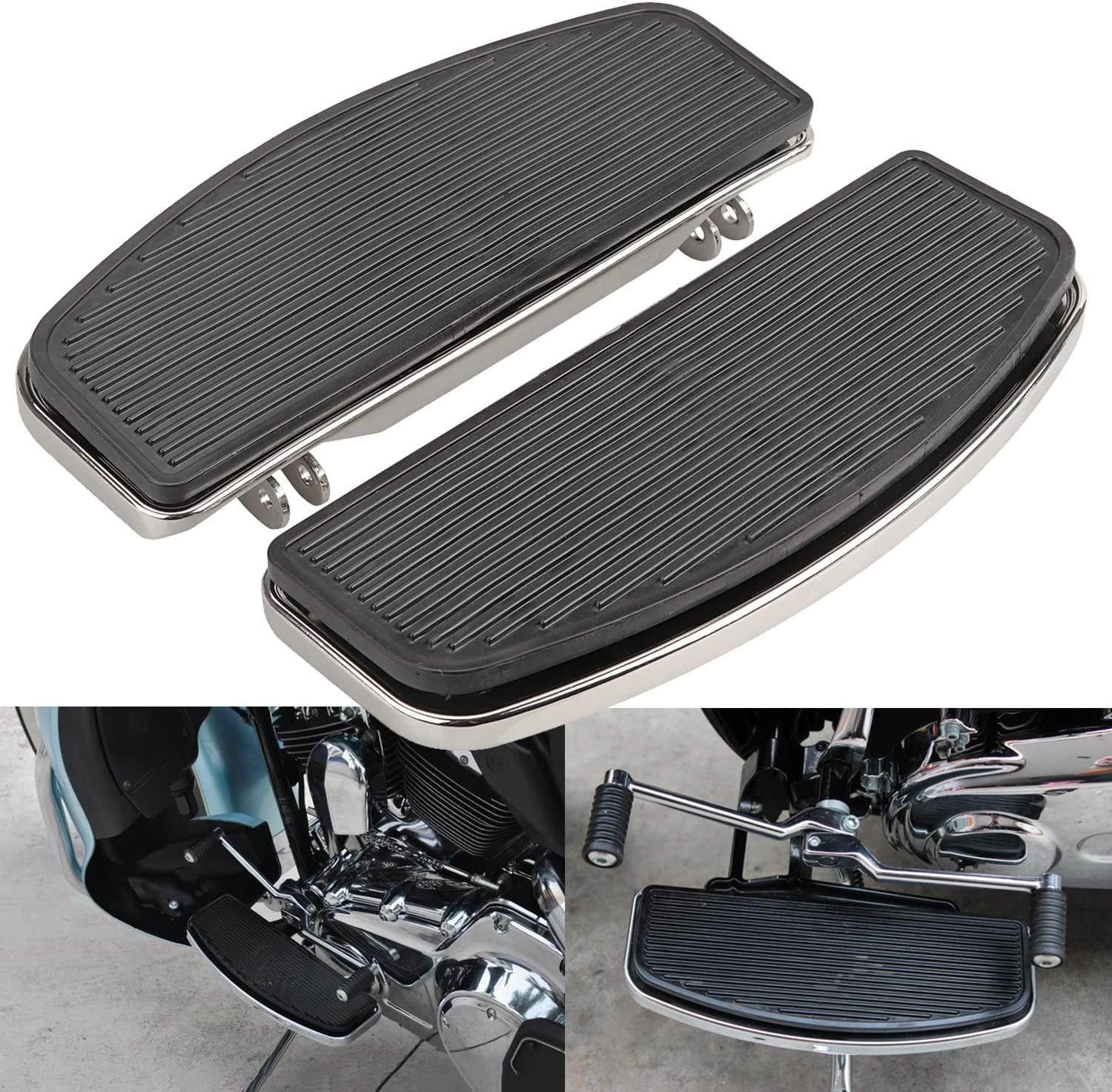 XMMT Chrome Front Driver Insert Fashion pegs Floorboards Ranking TOP3 Foot Rubber Pad