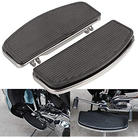 Compatible with 1986-2016 Harley Touring Road Street Electra Glide Rear Passenger Foot Boards Floorboards and 10X 8mm Rubber Pads Insert