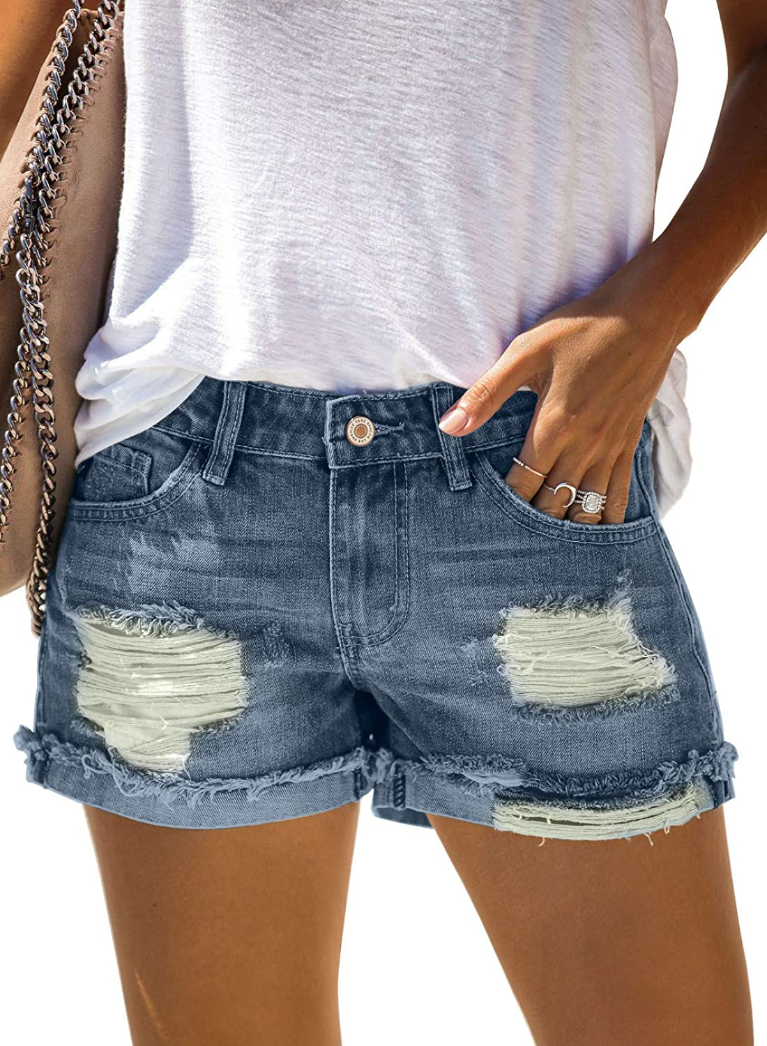 Paitluc Shorts for Women Jeans Distressed Summer Shorts with Pockets S-2XL