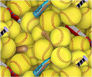 Softballs and Bats Sports Cotton Fabric by Elizabeth Studio