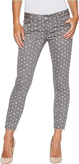 Skinny Ankle Brit Stretch Denim Jeans in Grey/Polka Dot