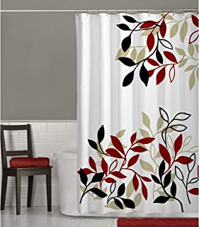 MAYTEX Satori Leaf Fabric Shower Curtain, Red, 70 inches x 72 inches