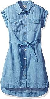 Calvin Klein Girls' Chambray Shirtdress